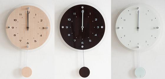 電波時計 木目調の美しい振り子付き掛け時計