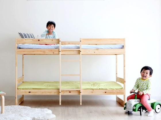 2段ベッド ひのき 木製ベッド 北欧デザインの国産ひのき2段ベッド ナチュラルカラー ナチュラル 北欧