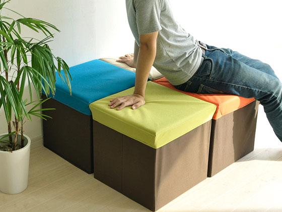 収納ボックス スツール BOX STOOL CORONE S 〔ボックススツール コロネ S〕 ベージュ オレンジ グリーン ブルー