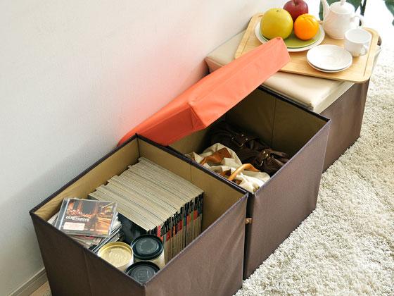 スツール 収納ボックス BOX STOOL CORONE L 〔ボックススツール コロネ L〕 ベージュ オレンジ グリーン ブルー