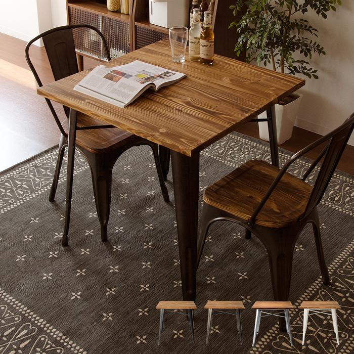 【テーブル単体】ダイニングテーブル テーブル ヴィンテージウッドダイニング Lewis〔ルイス〕 ホワイト ブラック メタル 76×76cm テーブル単体販売
