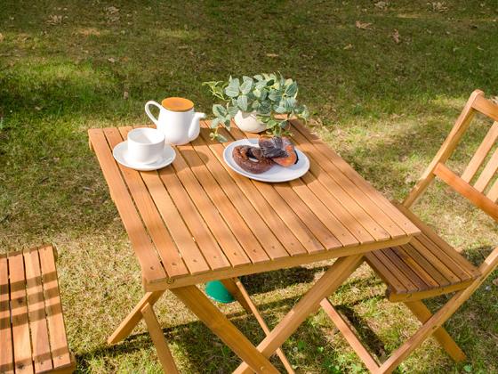 カフェ ガーデン 折りたたみガーデンROCCO(ロッコ)テーブル 60×60cmタイプ ナチュラル