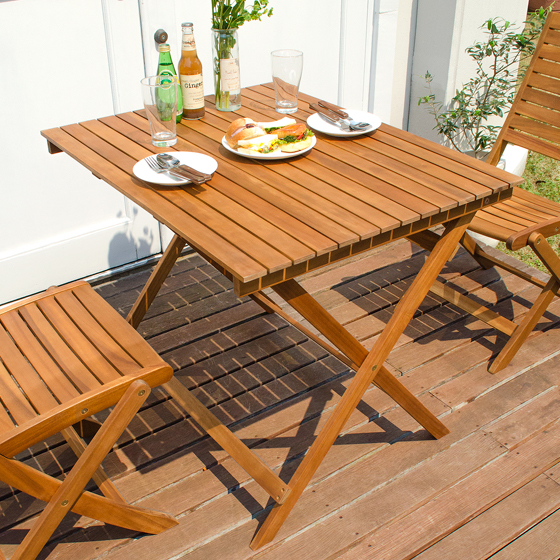カフェ ガーデン 折りたたみガーデンROCCO(ロッコ)テーブル 90×70cmタイプ ナチュラル