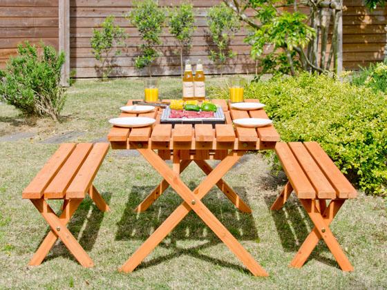 ガーデン ガーデンテーブルセット カフェ バーベキュー BASQUE(バスク) BBQテーブル&ベンチセット 3点セット