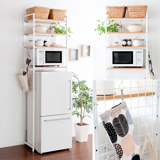 冷蔵庫ラック 冷蔵庫 冷蔵庫上ラック 冷蔵庫ラック miette〔ミエット〕 ナチュラル×ホワイト
