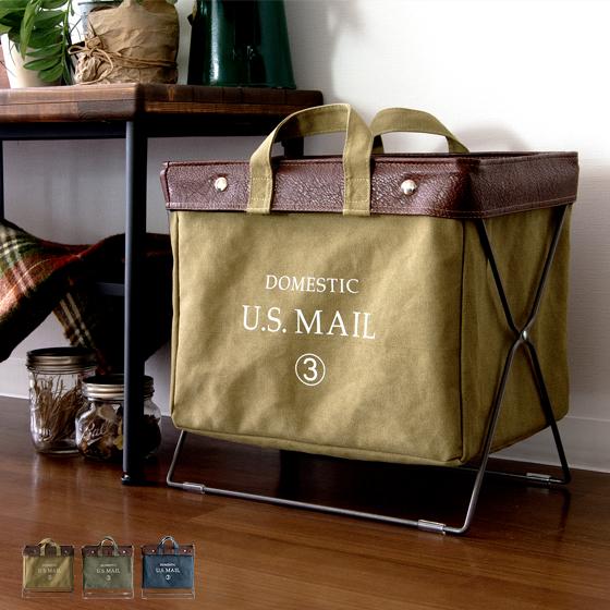 収納ボックス 収納ケース 収納バッグ バスケット 折りたたみ U.S.MAIL フォールディングバッグ ネイビー ベージュ グリーン