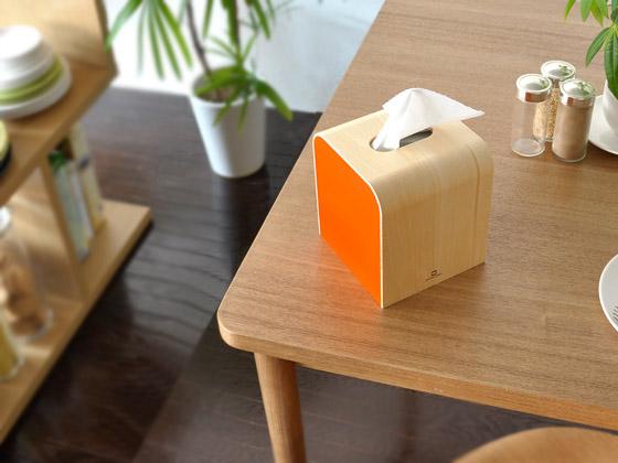 曲げ木ティッシュケース COLOR mini(カラーミニ) ホワイト、ブラック、オレンジ、ライトグリーン、ブラウン
