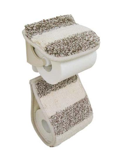 トイレットペーパーホルダー カバー ナチュラル 丸洗い ナチュラルボーダー ベージュ ブラウン