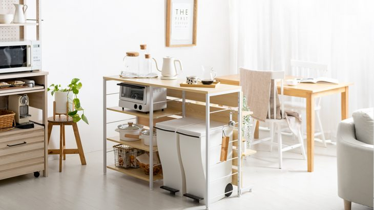 《コーディネート紹介》キッチンカウンターで空間を仕切って作る開放感あるナチュラルダイニング