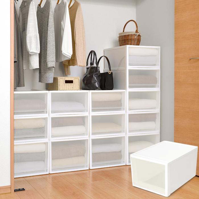 衣装ケース 収納ケース 収納ボックス 収納ケース stora(ストラ) クローゼット用 Lサイズ ホワイト ブラウン