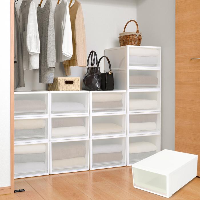 衣装ケース 収納ケース 収納ボックス 収納ケース stora(ストラ) クローゼット用 Mサイズ ホワイト ブラウン
