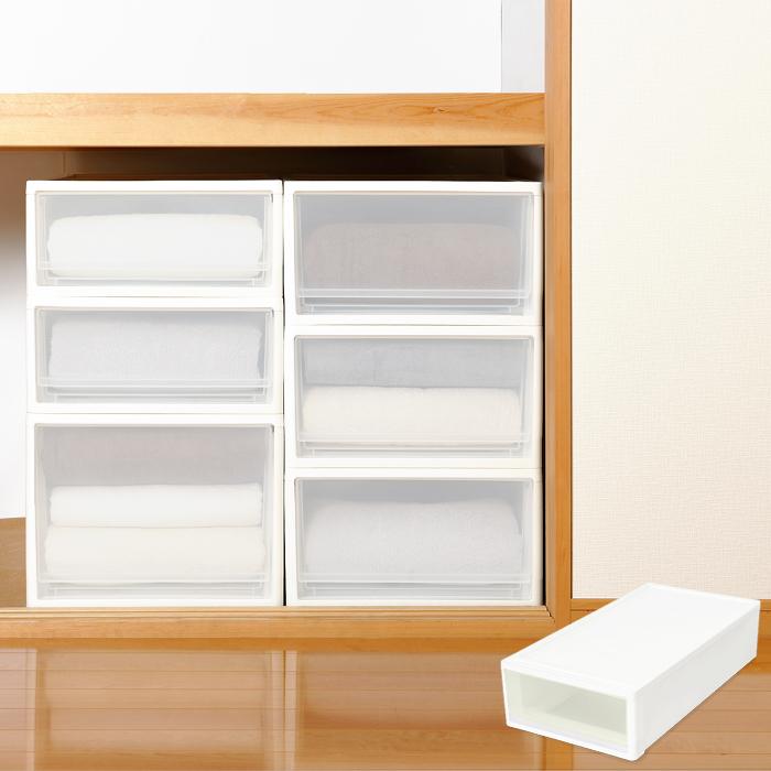 衣装ケース 収納ケース 収納ボックス 収納ケース stora(ストラ) 押し入れ用 Sサイズ ホワイト ブラウン