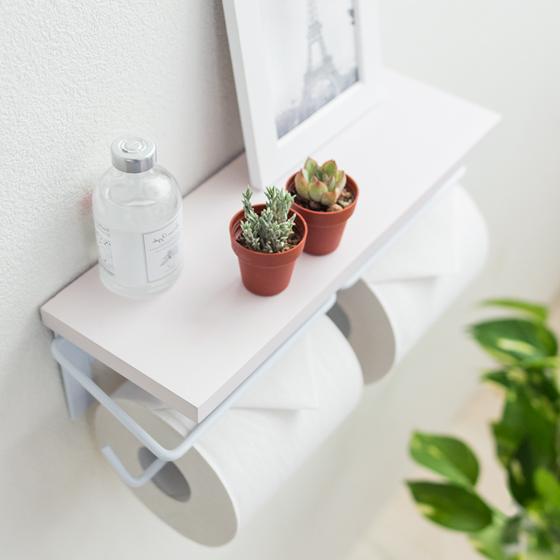 トイレットペーパーホルダー 北欧 2連式 ふた付き ダブル 収納 飾り棚 カントリー シンプル 白色 木製 ホワイト Mary〔メアリ〕