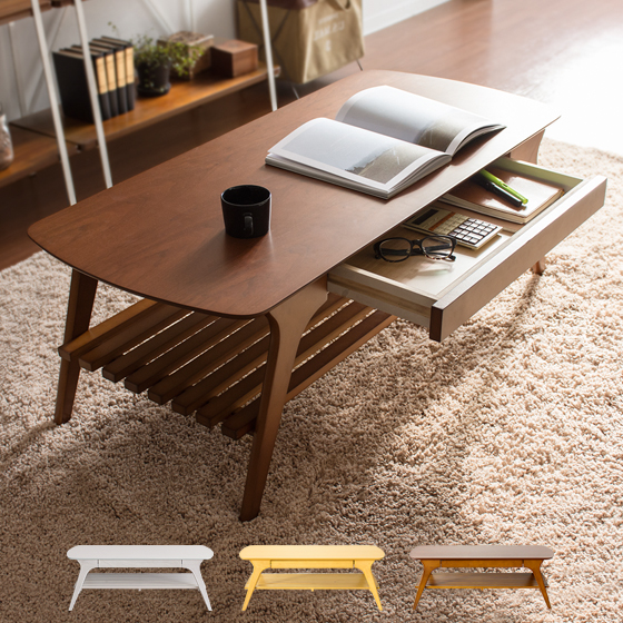 テーブル 引出し付き リビングテーブル センターテーブル 北欧 ウッドテーブル Dris〔ドリス〕  ブラウン ナチュラル ホワイト