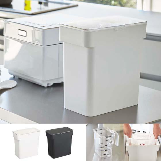 米びつ 米櫃 ライスストッカー 保存容器 計量カップ付き 洗える 5kgタイプ プラスチック おしゃれ シンプル 密閉 袋ごと米びつ tower〔タワー〕 ホワイト ブラック