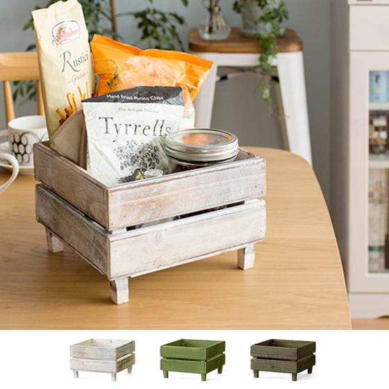 収納 収納ケース 小物入れ ボックス 木製 天然木 木製スタッキングラックDolf(ドルフ) Sサイズ グリーン ホワイト ブラウン