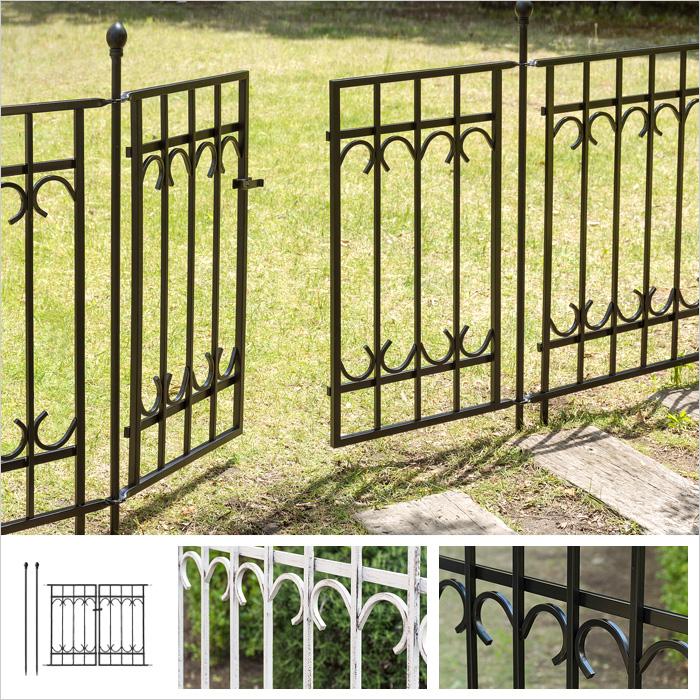 ガーデンフェンス ゲートセット(ゲート1枚、ポスト2本) アイアンフェンス トレリス ピケフェンス PARK AVENUE(パークアヴェニュー) ゲートセット