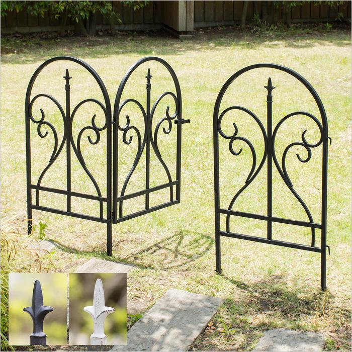 ガーデンフェンス ゲートセット(ゲート1枚、フェンス2枚) アイアンフェンス トレリス Finial(フィニアル)  ゲートセット ブラック ホワイト