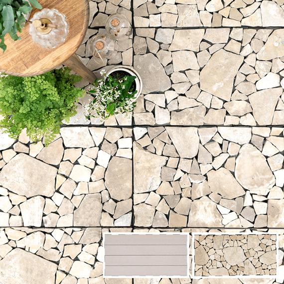 天然石/メープルウッド ジョイントフロアーパネル [60×30cm 5枚セット] フロアパネル フロアタイル 床材 DIY