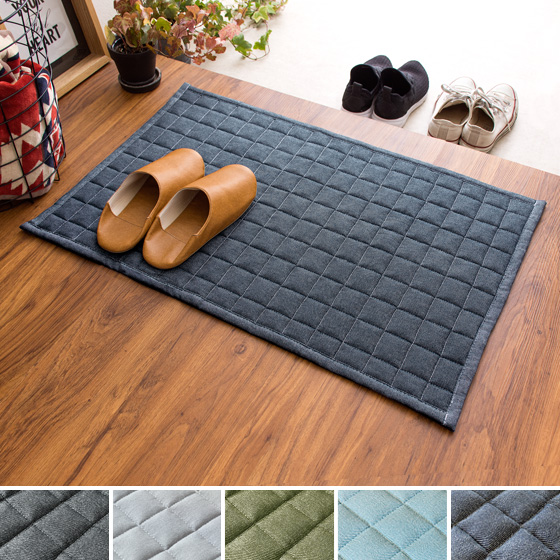 デニムデザインラグ 玄関マット 洗える 固綿入り 玄関ラグ マット カーペット 50×80cm インディゴ ジーンズ