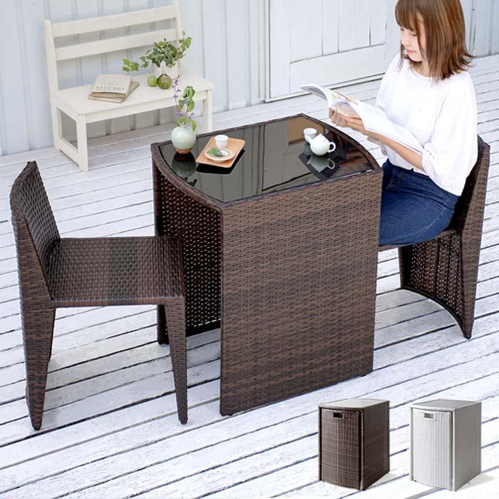 ベランダ 庭 テラス テーブル チェア コンパクト おしゃれ ラタン調コンパクトテーブルセット noon(ヌーン)「平編みタイプ」 ブラウン ホワイト
