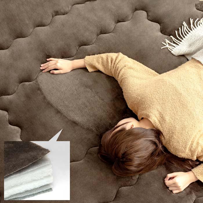 [190×190/正方形] 6層こたつ敷き布団Fran(フラン) 190x190cm 正方形タイプ 手洗い可 厚み40mm 蓄熱 断熱 フランネル ブラウン ※こたつ敷き布団のみ単体販売となっております。掛け布団・こたつ本体は付いておりません。