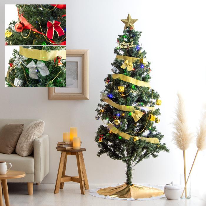 [高さ180cm] クリスマスツリーセット クリスマスツリー オーナメントセット LED レッド ゴールド