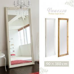 """ミラー 鏡 ビッグサイズ 立て掛けミラー """"Vanessa""""〔ヴァネッサ〕 90×180cm ゴールド ホワイト"""