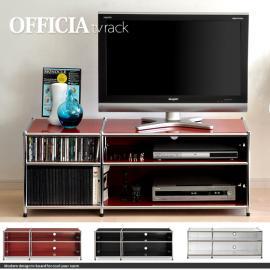 幅120cm、テレビラック officia tv rack ショートサイズ 〔オフィシア テレビラック〕 ブラック レッド ホワイト
