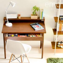 デスク、北欧 パソコンデスク emo writing desk 〔エモ ライティング デスク〕 ブラウン ※チェアは付いておりません