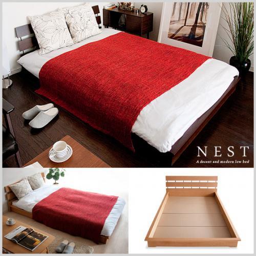 北欧 ベッド セミダブルフロアベッド NEST 〔ネスト〕【セミダブル】マットレスセット