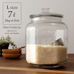 米びつ 米櫃 ガラス ライスストッカー 保存瓶 保存ビン 保存容器 カフェ おしゃれ ヴィンテージ アンティーク ナッツ シリアル パスタ Glass Cookie Jar〔ガラスクッキージャー〕 Lサイズ  【送料あり】 詳細はこちら