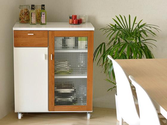 北欧家具、食器棚 PULK 70 KC 〔パルク 70 キッチンカウンター〕 ホワイト×ライトブラウン